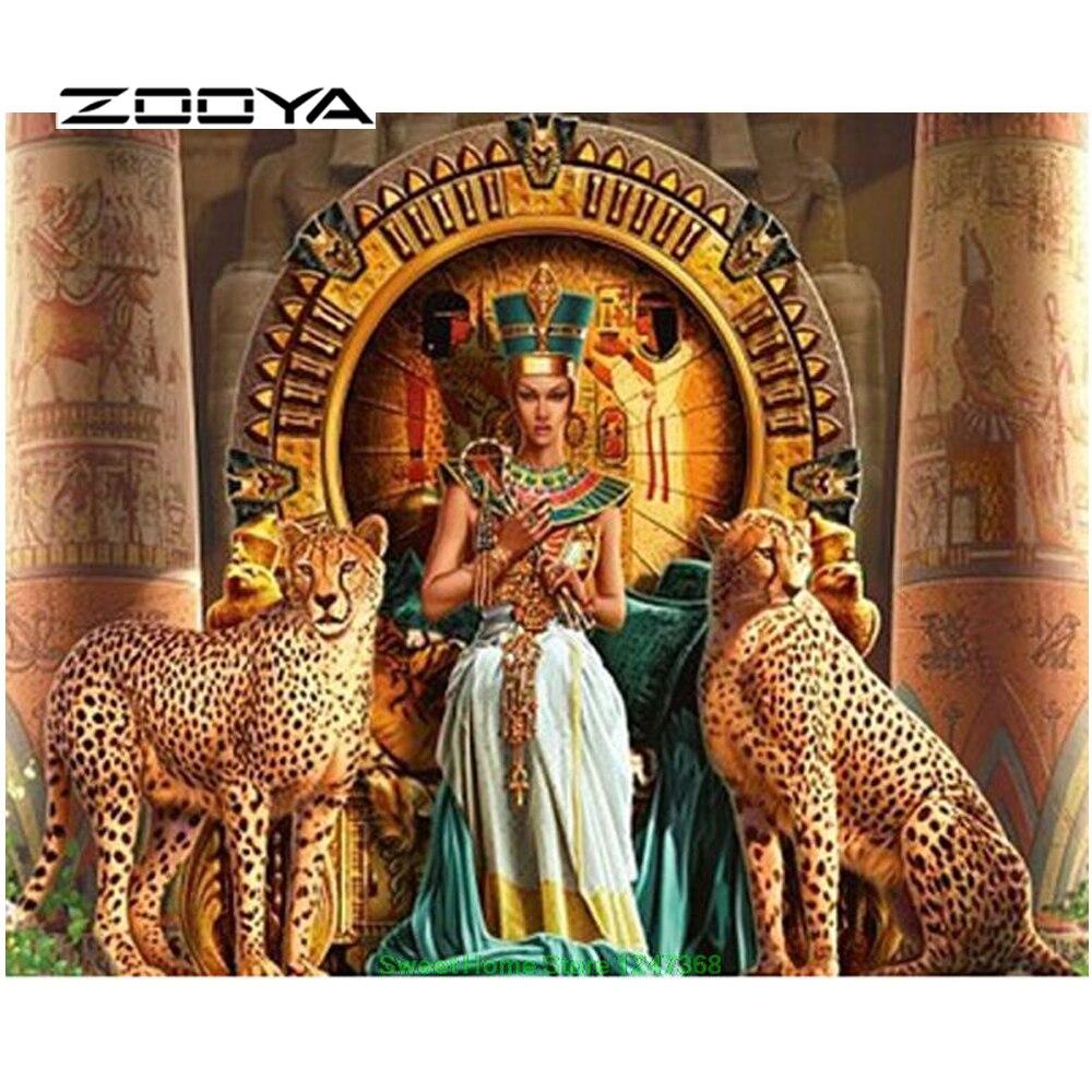 ZOOYA Diamond Embroidery Diamond Painting Diamond Mosaic Painting Rhinestones Needlework Diy Kits Beauty Girl & Leopard SF161