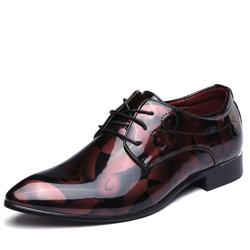 Fashion personality Extra large size mens shoes Shiny printing Pointed head elevator shoes Dress Hair Stylist Heightening Shoes