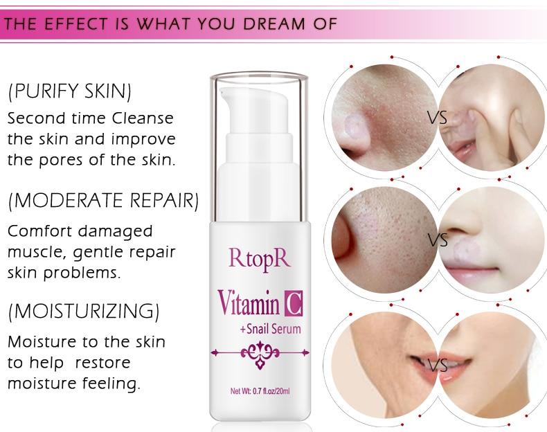 Hyaluronic Acid Serum + VC Snail Serum Collagen Serum Anti-Aging For men and women Moisturizing Skin Care Whitening Brighten 6