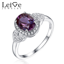 Leige Jewelry Leige Jewelry Engagement Ring for Women 925 Sterling Silver Oval Cut Alexandrite Ring  Classic Anniversary Gift