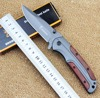 DA43 Folding Knife Titanium Steel Blade Wooden Handle Outdoor Camping Hunting Tactical Knife Survival EDC Tools