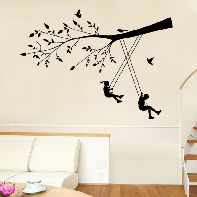 Wall Stickers For Kids Rooms Children Bedroom Art Home Decor Pvc  Cartoon Wallpaper Baby Swing