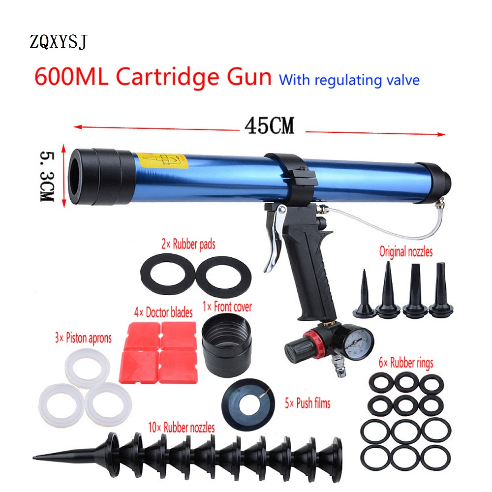 ZQXYSJ 15 Inches 600ml Pneumatic Caulking Gun Pistol With Pistons Glass Glue Air Rubber Guns Tool Caulking Glass Silicone Tools