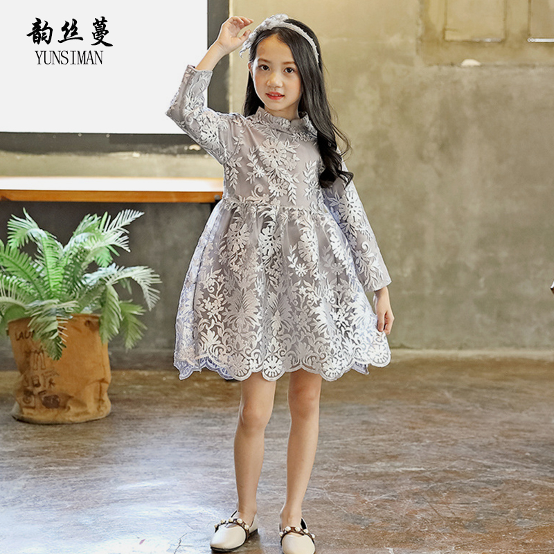 Autumn Girls Clothes Dress 4 6 8 10 to 12 Years Kids Long Sleeve Elegant Embroidery Party Princess Dresses Christmas Dress 26A3A girl dress princess autumn 2018 fashion flowers embroidery denim dress girls long sleeve turn down collar kids clothes b0659
