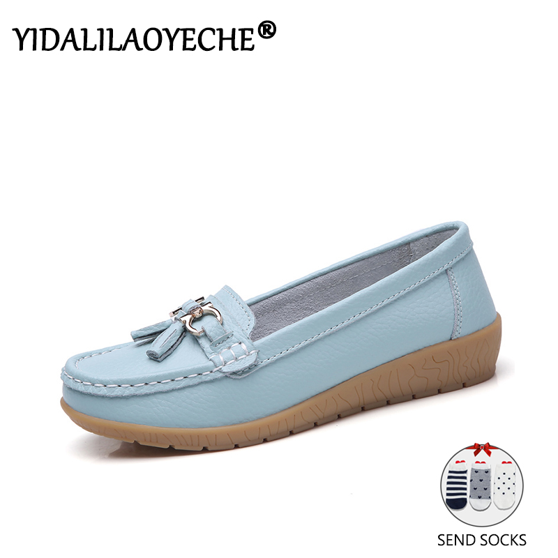 YIDALILAOYECHE  Comfortable 2019 Loafers Women Handmade Genuine Leather Fringe Oxford Shoes Big Size 35-44 zapatos mujer 2019