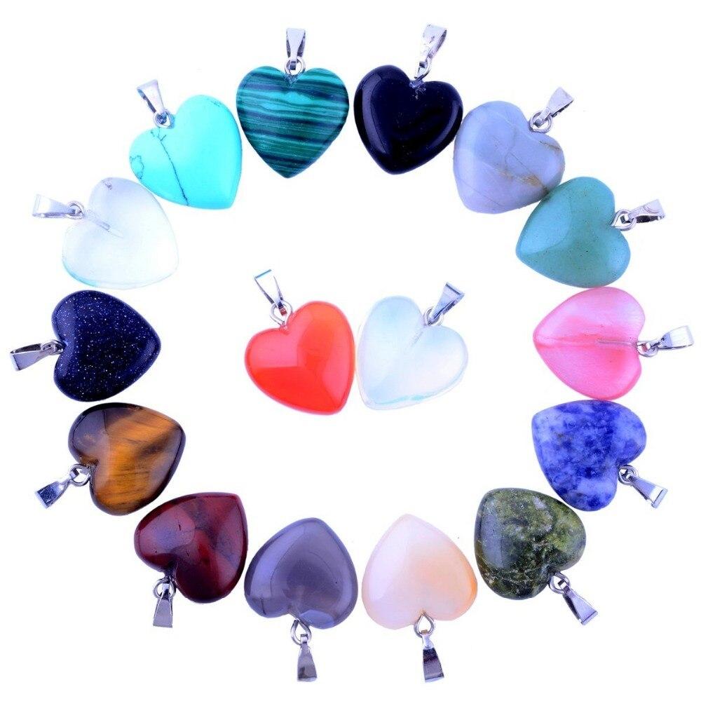 12 Teile/los Verschiedene Naturstein Charms 16mm Healing Kristall Herz Form Anhänger Für Halskette Ohrring Schmuck Machen Großhandel