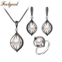 Feelgood imitatie Parel sieraden set Vintage zilver kleur koper Pave zwarte CZ ogen vorm ketting oorbellen Ring Sets 2018 Nieuw