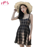 Korean Style Summer Sexy Spaghetti Strap Dress High Waist Elastic Sleeveless Plaid Dress Night Club Wear Women Cute Mini Dresses