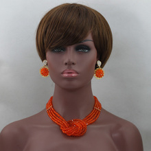 Pretty Orange African Beads Jewelry Set Fashion Jewelry Set for Women 2016 Chunky Crystal Jewellery Set