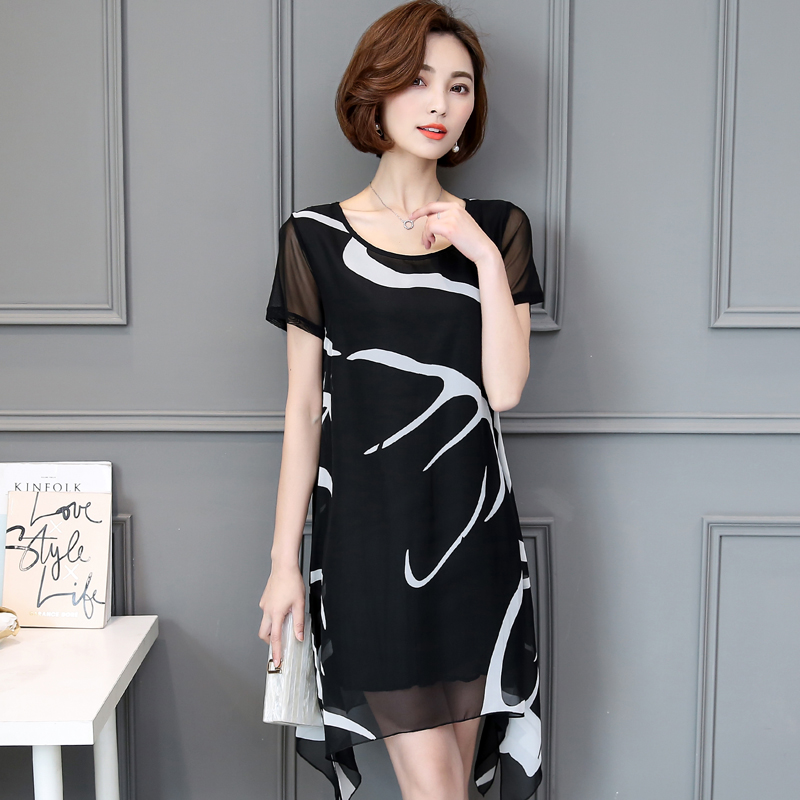 Casual Style New Arrivals Women Tops 2017 Add Fertilizer Increased Fat MM Thin Irregular Chiffon Dress Blouse Dress Code 62B 30