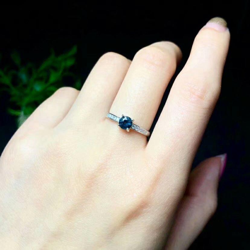 Shilovem 925 sterling silber echt Natürlichen saphir Ringe anhänger edlen Schmuck frauen hochzeit öffnen neue yhtz0404865agl - 6