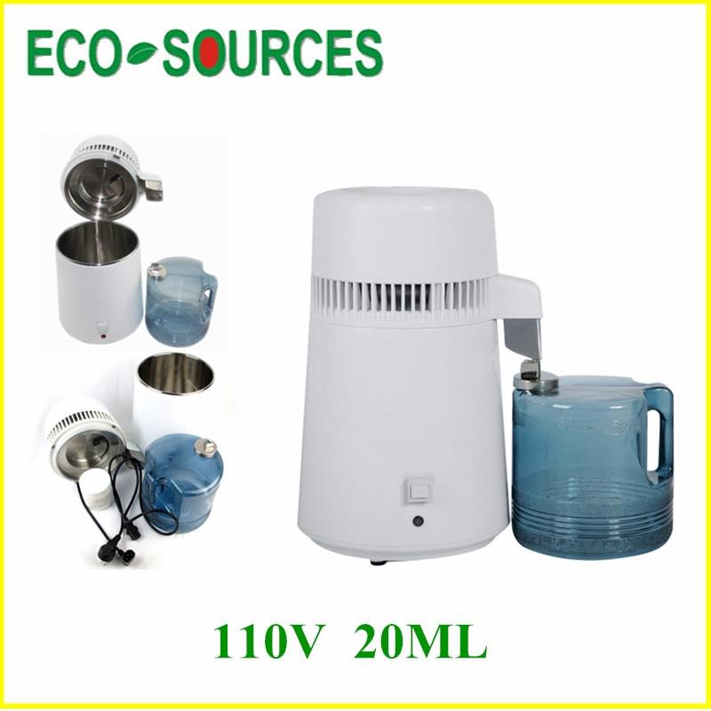 110V 20ML Stainless Steel Body & Filter Pure Water Distiller Purifier 750W Safest Hospital New Generation fresh 20ml