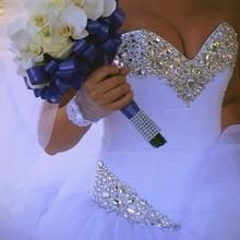QQ Lover роскошное Хрустальное Тюлевое бальное платье, свадебные платья, блестящие стразы, плиссированное свадебное платье принцессы