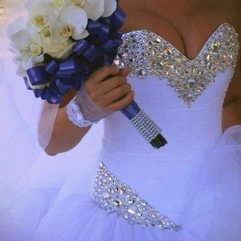QQ Lover 2020 Luxury Crystal Tulle Ball Gown Wedding Dresses Sparkly Rhinestones Pleated Princess Wedding Gown