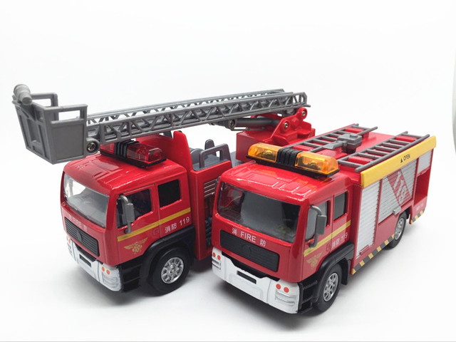 Boxed 1:32  Alloy car model Ladder ladder fire truck series of children 's toys Sound and light back to power