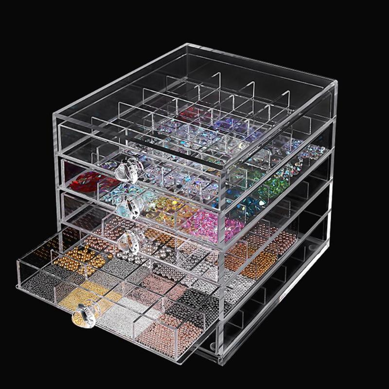 100 Grid Acrylic Makeup Organizer Storage Box Nail Art Display  Cosmetic Nail Display Stand Showing Shelf Nail Organizer Tools