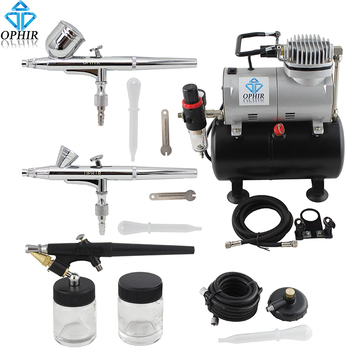 OPHIR 3-Airbrush Guns with PRO Air Tank Compressor for Model Paint/Cake Decorating/Temporary Tattoo/Nail Art_AC090+004A+071+073