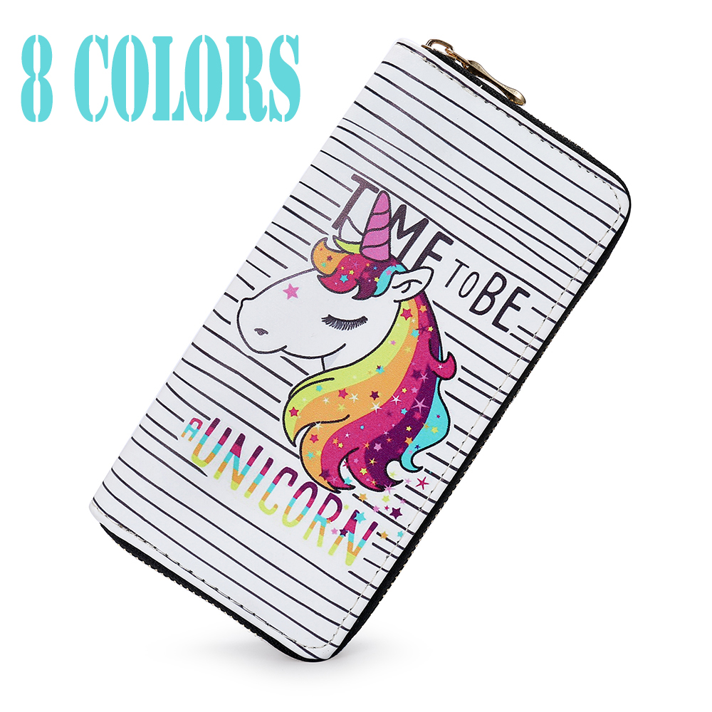 Sansarya 2018 Cartoon Unicorn Print Long Zipper Women Wallet Female Purse Clutch Bag Coin Purse Cute Card Holder Phone Bag large capacity women wallet leather card coin holder money clip long clutch phone wristlet trifold zipper cash female purse