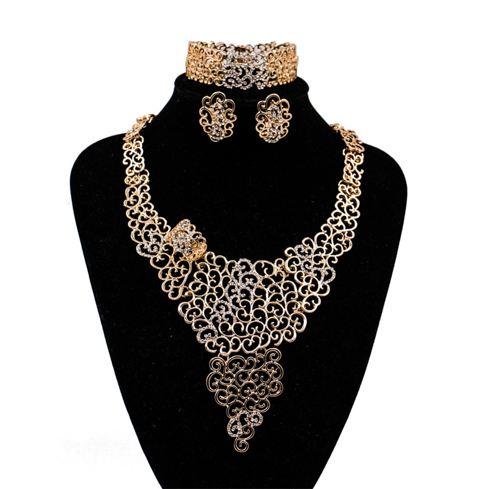 LAN PALACE Nigerian jewelry african jewelry set gold color ladies jewellery set earrings ...
