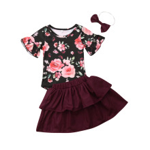 Infant Newborn Baby Girls Short Sleeve Floral Romper +Tutu Skirts 3pcs Princess Dress Summer Baby Girls Clothes Set Outfits new emmababy cute princess dress newborn toddler baby girls unicorn lace tutu fly sleeve romper jumpsuit fancy dress outfits costume