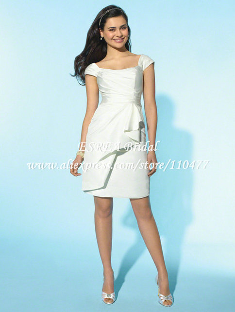 MC074 Classic Scoop Backless A line White Short Cap Sleeve Wedding ...
