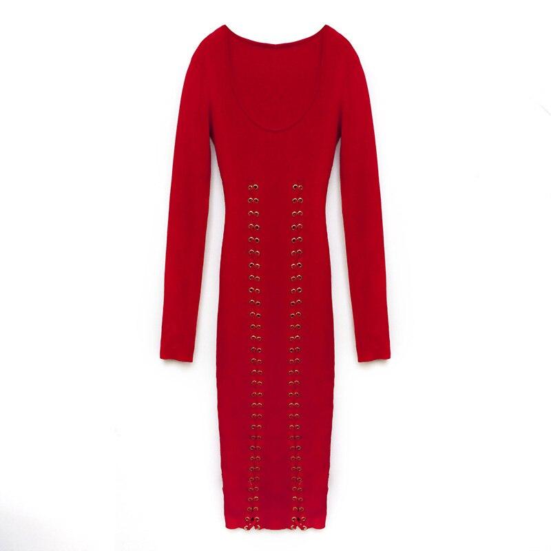 Sexy Cut Pur Coton Robe 3 Rouge De Couleur Mince Printemps Low Cou Très Grande Hauteur Couleurs O 2018 Tricoté UzVpGjqLSM