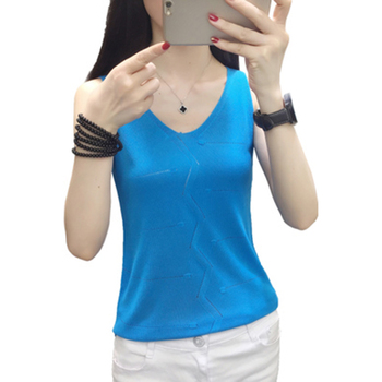 sexy crop top 12 Colors tank top Fashion Vest Casual Sleeveless V-Neck tops Women Summer Korean Knitted Cotton Womens Clothes