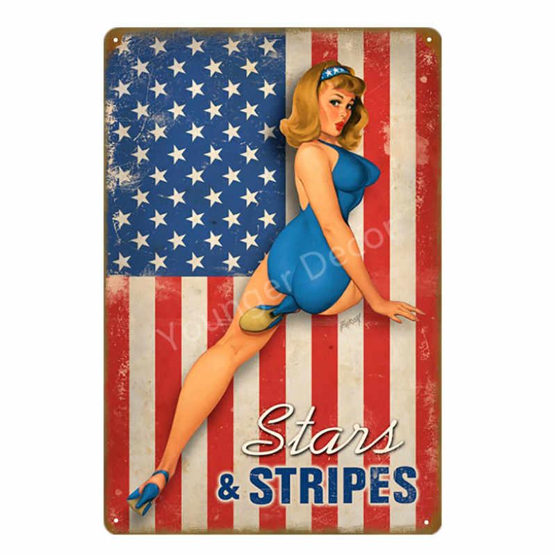 Американский сексуальные Гольф девушка олова подписывает поп-арт Pin up Металл-mail гараж Техас моторное масло ретро декоративная крафт-бумага стены Стикеры YD034