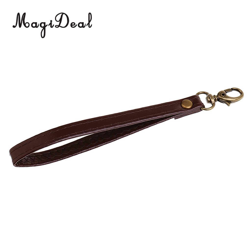 Jfory Durable Leather Replacement Wrist Strap for Clutch, Wristlet, Purse Brown