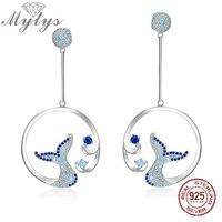 Mytys Real 925 Sterling Silver Dangle Earrings Ocean Fishtail Design High Level Women Fine Jewelry Setting With AAA Zircon CE392