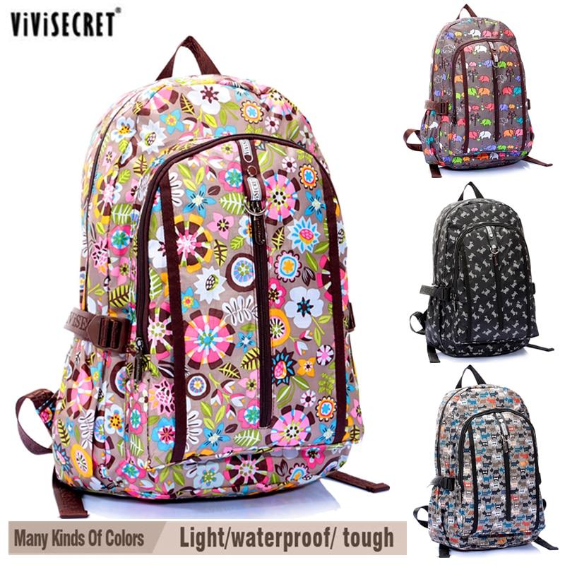ФОТО Famous Brand Women's Waterproof Nylon Backpacks Floral Flower Cartoon For Girl's Boys Children Travel Bags School Bag Hot Sale
