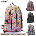 Hot Sale Famous Brand Women's Waterproof Nylon Floral Flower Cartoon Backpacks For Girl's Boys Childre Travel Bags School Bag