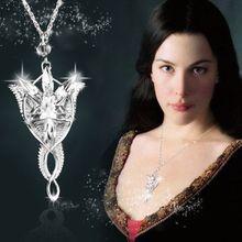 Серебряное ожерелье чокер Властелин лотра Arwen Evenstar хрустальное ожерелье с подвеской Женская цепочка винтажное ювелирное изделие в виде Хоббита Ketting