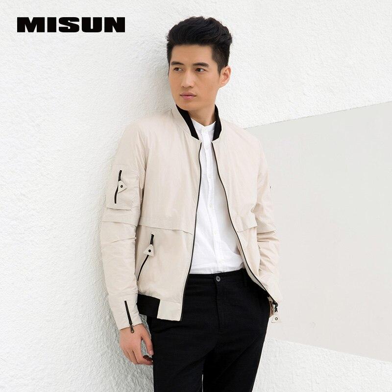 MISUN 2018 Spring Jacket Men Thin Stand Collar V-Neck Short Coat Slim Long-Sleeve Bomber Jacket Outerwear Veste Homme MSMJ-G0101