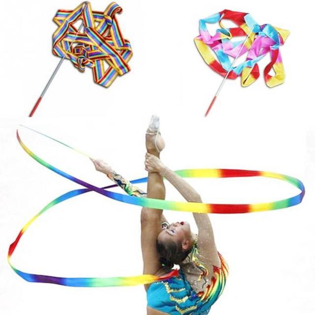 505aec0a1 1 Pcs 4 M Fita Dança Ginástica Ballet Ginástica Rítmica Ginástica Art  Streamer Twirling Rod