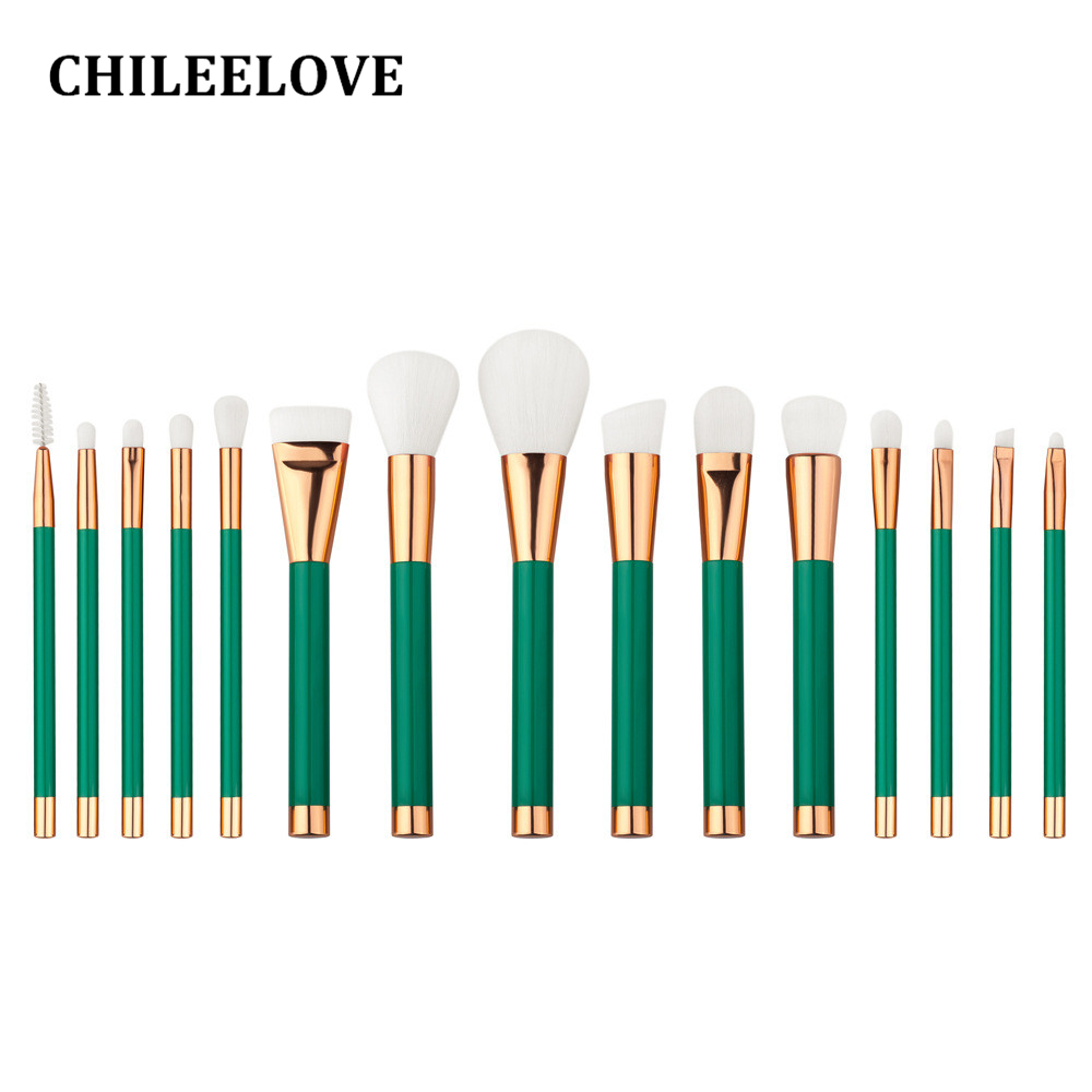CHILEELOVE 15 Piece Green Purple  Makeup Brushes Set Kit Professional Foundation Brush Tool Beauty Cosmetic Tools