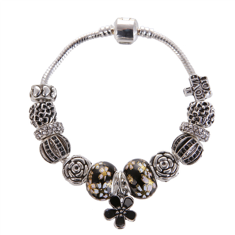 High Quality Flower Pendant Black Charms Noble Fashion Bracelet Pandora Bracelet For Women/Gril gift jewelry Drop Shipping