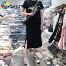 2019 Summer Womens Dress Plus Size Korean Fashion Casual New Cartoon Print Dumbo Female Dresses O-Neck Women Maxi