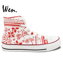 Wen Hand Painted Shoes Original Custom Design Christmas Socks Men Women's High Top Canvas Shoes Casual Shoes Birthday Gifts