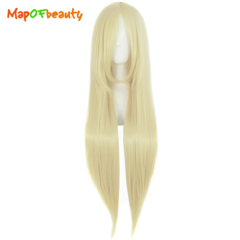 Synthetic None-lacewigs Synthetic Wigs Cooperative Long Straight Hair 39 100cm Cosplay Wig Black White Brown 4 Colors Heat Resistant Synthetic Wigs Women Ladies Party Mapofbeauty