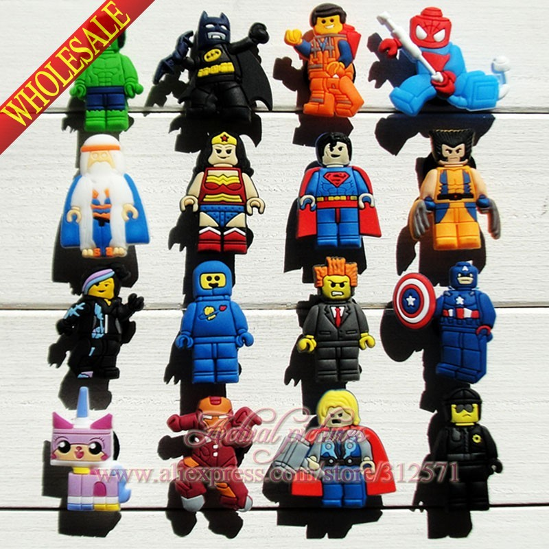 Kids Toy Free shipping 16pcs/lot Super Man Heroes PVC shoe charms/shoes accessories Shoe Decoration Kid Favor Gift new arrival free shipping 40 pcs lot fruit shoe decoration shoe charms shoe accessories for clogs hyb074 01