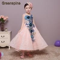 Greenspine Summer Mesh Vest Flower Girls Dress Baby Girl PDress Petal Decoration Party Chlidren Clothes Custom-made