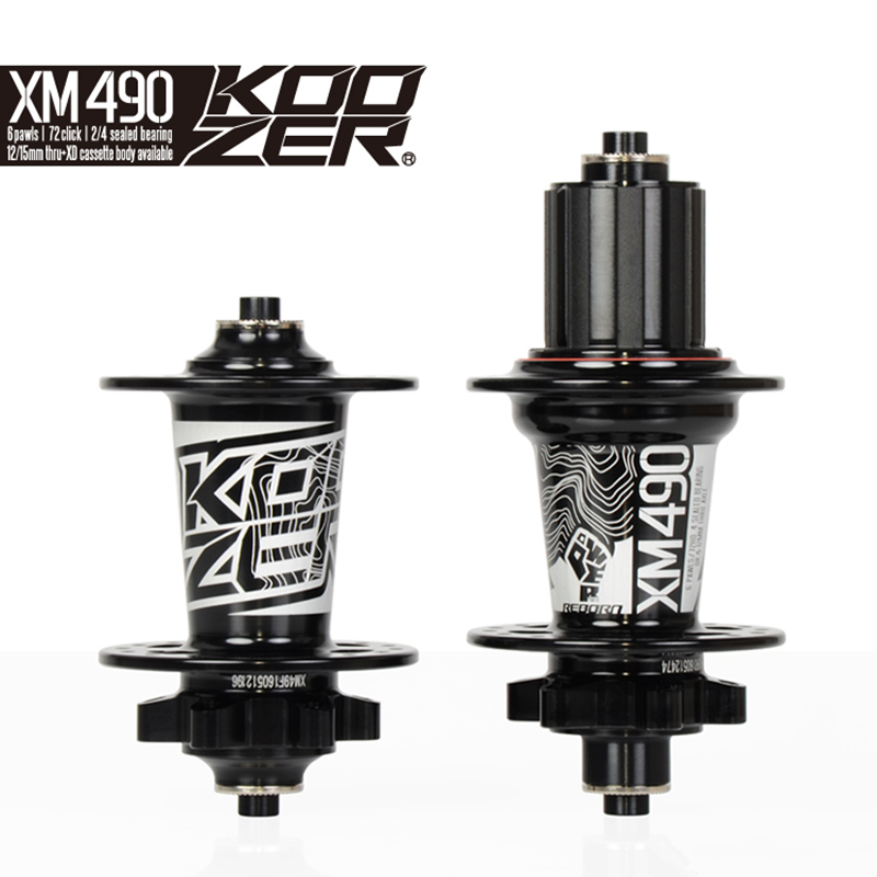 Koozer XM490 Sealed Bearing MTB Mountain Bike Hub Quick Release set Bike hub 32H Disc Brake 15/12mm Thru Axle QR Bicycle Hubs rich bit bicycle hubs sealed bearing mountain bike hub qr and thru transform each other disc brake front 9 15mm rear 10 12mm hub