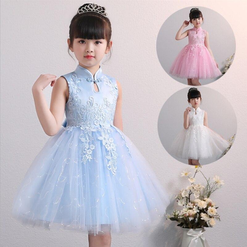 Azul para Menina Vestido de Baile Vestido da Menina Yiiya Vestido Crianças Gola Chinesa Bordado Tule Flor Algodão Forro 2020 Bx1703 é