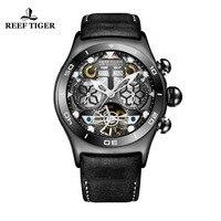 Reef Tiger/RT мужские спортивные часы Скелет Tourbillon часы с год месяц Календарь автоматические часы RGA703
