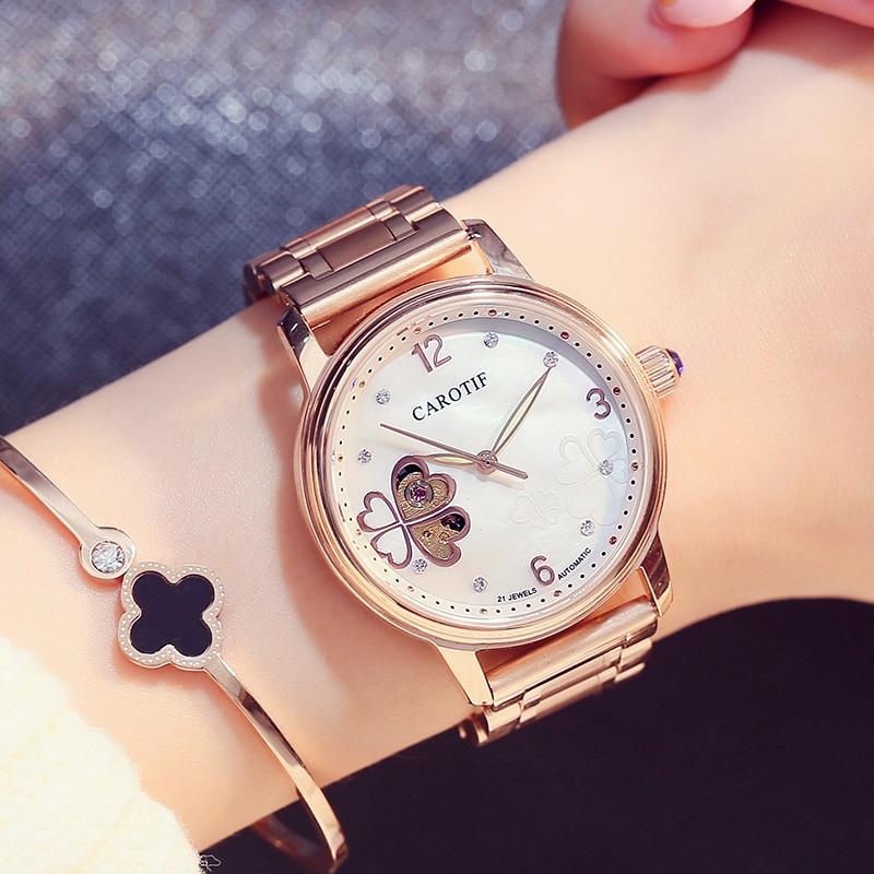 Carotif Fashion automatike shikon orë mekanike femra - Ora për femra