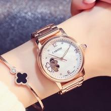 Carotif Fashion automatiska mekaniska klockor kvinnor rostfritt stål