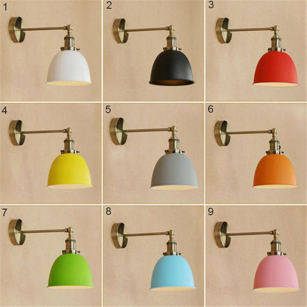 2018 New Modern E27 led wall sconces Bronze + Colorful Metal lampshades LED wall lighting led wandlamp espelho lampadas