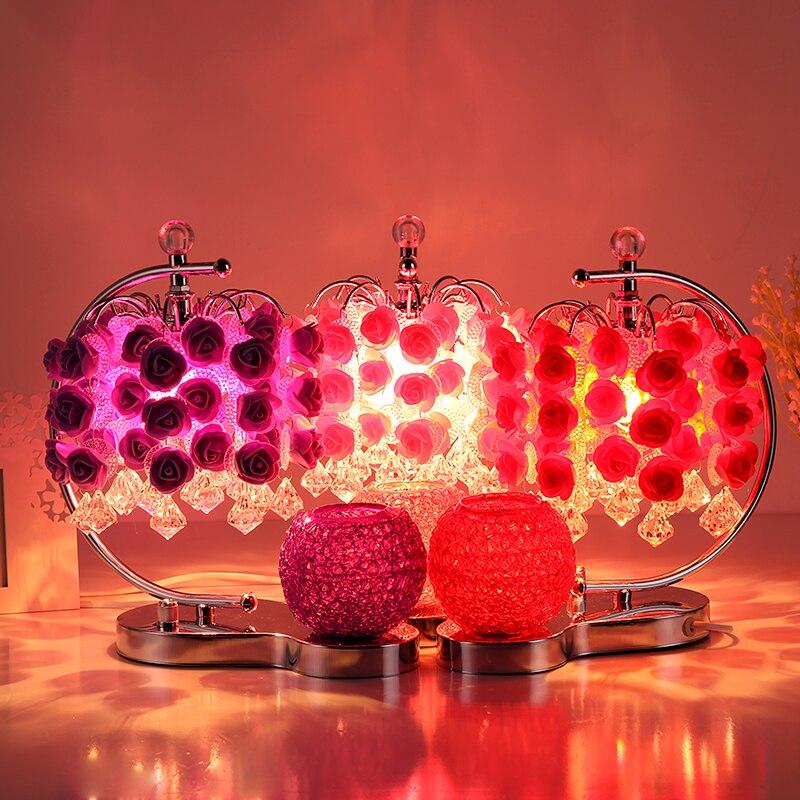 Романтическая роза настольные лампы для Спальня ночники роза Свадебный номер настольная лампа штекер Творческий красный/фиолетовый насто...