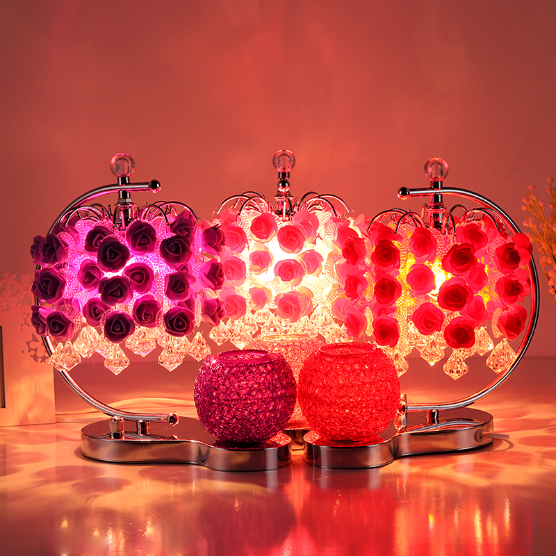 Romantic rose table lights for Bedroom bedside lamp rose wedding room table lamp plug creative red/purple table lamps ZH crystal lamp bedroom bedside lamp decoration lamp european creative wedding marriage room warm rose wedding gift table lamp